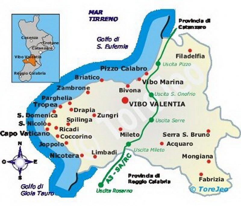Mapa S Vyznacenym Uzemi Costa Degli Dei Kalabrie Plaze Costa